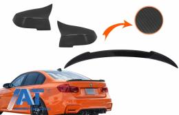 Capace oglinzi si Eleron Portbagaj compatibil cu BMW Seria 3 F30 2011-2018 M4 Design Real Carbon - CO89713CFR