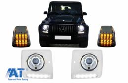 Carcasa faruri cu Lumini de zi dedicate LED DRL cu Faruri Crom si Lampi Semnalizare LED si compatibil cu MERCEDES G-Class W463 (1989-2012) G65 Design - COHCMBG65PCLED