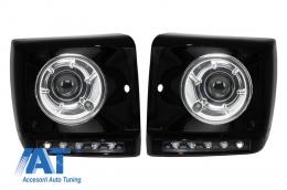 Carcasa faruri LED DRL Black compatibil cu MERCEDES Benz G-class W463 (1989-2012) G65 AMG Design cu Faruri Bi-Xenon - COHCMBG65BBHC