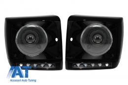 Carcasa faruri LED DRL Negru compatibil cu MERCEDES G-class W463 (1989-2012) G65 A-Design cu Faruri Bi-Xenon - COHCMBG65BBH