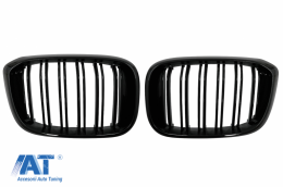 Central Kidney Grilles suitable for BMW X3 G01 (11.2017-up) X4 G02 (02.2018-up) Double Stripe M Design Piano Black - FGBMG01DPB