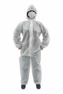 Combinezon alb din 100% polipropilena cu gluga, de unica folosinta, inchidere cu fermoar, mansete elastice, marimea M/L - CBNZTNTMTGH