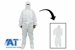 Combinezon alb din Bumbac si Polietilena cu gluga, inchidere cu fermoar, mansete elastice, marimea M, impermeabil, lavabil - CBNZRALM