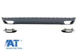 Difusor bara spate cu Ornamente tobe compatibil cu AUDI A8 D4 (2010-2014) W12 Design - RDAUA8D4W12