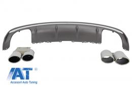Difuzor Bara Spate compatibil cu AUDI A3 8V Sedan (2012-2015) S3 Design Evacuare Dubla cu Ornamente Tobe - RDAUA38VSE