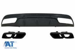Difuzor Bara Spate cu Ornamente compatibil cu MERCEDES Benz W205 C-Class (2014-up) C63 A-Design Negru - CORDMBW205AMGTYB