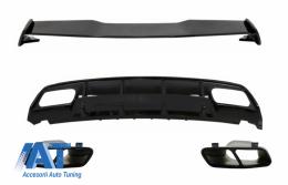 Difuzor Bara Spate cu Ornamente de evacuare si Eleron Portbagaj compatibil cu MERCEDES W176 A-Class (2012-2018) A45 Facelift Design - CORDMBW176FTSTYB