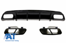 Difuzor Bara Spate cu Ornamente Evacuare Negre compatibil cu MERCEDES A-Class W176 (2012-2018) A45 Facelift Design - CORDMBW176FA45B
