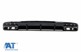 Difuzor Bara Spate cu Ornamente evacuare Negre compatibil cu Mercedes S-Class C217 Coupe (2014-2020) S63 Facelift Design - RDMBC217AMGS63BB