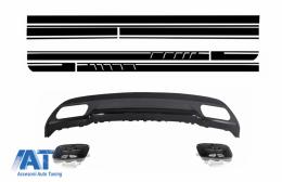 Difuzor Bara Spate cu Ornamente Evacuare si Set Stickere compatibil cu Mercedes W176 A-Class (2012+) Sport Line - CORDMBW176AMGBDGSMB