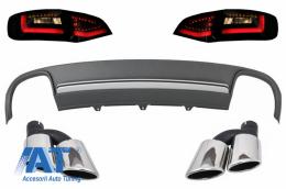 Difuzor Bara Spate cu Ornamente Evacuare si Stopuri LED compatibil cu AUDI A4 B8 Avant Pre Facelift (2008-2011) S4 Design - CORDAUA4B8S4BSY