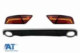 Difuzor Bara Spate cu Ornamente Evacuare si Stopuri LED compatibil cu AUDI A7 4G (2010-2014) RS7 Design - CORDAUA74GTL
