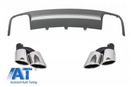Difuzor Bara Spate cu Ornamente Evacuare compatibil cu AUDI A4 B8 Facelift (2012-2015) Sedan/Avant S4 Design - CORDAUA4B8S4F