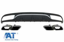 Difuzor Bara Spate cu Ornamente Evacuare compatibil cu Mercedes C-Class C205 A205 Coupe Cabriolet (2014-2019) C63 Design - CORDMBC205C63
