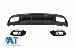 Difuzor Bara Spate cu Ornamente pentru sistemul de evacuare Negre compatibil cu MERCEDES W176 A-Class (2013-2018) A45 Facelift Design Carbon Look - CORDMBW176FCFA45B