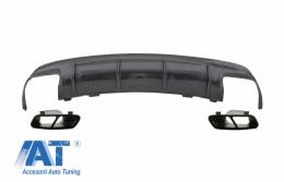 Difuzor Bara Spate cu Ornamente pentru sistemul de evacuare Negre compatibil cu MERCEDES Benz W117 CLA (2013-2018) Facelift CLA45 Carbon Look - CORDMBW117FCFTYB
