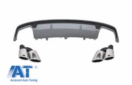 Difuzor Bara Spate cu Ornamente toba compatibil cu AUDI A7 4G Facelift (2015-2018) S7 Design
