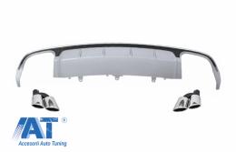 Difuzor Bara Spate cu Ornamente toba compatibil cu AUDI A6 4G Facelift (2015-2018) S6 Design - CORDAUA64GFS6SLTY