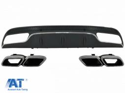 Difuzor Bara Spate cu Ornamente tobe compatibil cu MERCEDES C-Class W205 S205 (2014-2020) C63 Design doar pentru Sport Package - CORDMBW205AMGTY