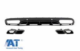 Difuzor Bara Spate cu Ornamente tobe compatibil cu MERCEDES C-Class C205 A205 Coupe Cabriolet (2014-2019) C63 Edition 1 Design Negru Lucios - CORDMBC205C63BTYC
