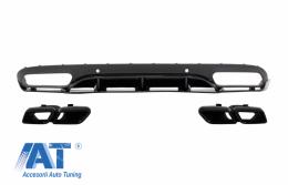 Difuzor Bara Spate cu Ornamente tobe compatibil cu MERCEDES C-Class C205 A205 Coupe Cabriolet (2014-2019) C63 Edition 1 Design Negru - CORDMBC205C63BTYB