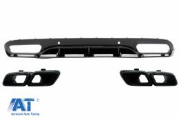Difuzor Bara Spate cu Ornamente tobe compatibil cu MERCEDES C-Class C205 A205 Coupe Cabriolet (2014-2019) C63 Edition 1 Design Negru - CORDMBC205C63BTYBWOL