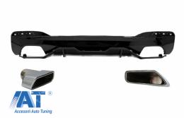 Difuzor Bara Spate cu Ornamente Tobe compatibil cu BMW Seria 5 G30 G31 (2017+) M Performance Design Negru Lucios