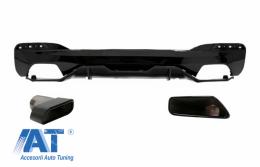 Difuzor Bara Spate cu Ornamente Tobe compatibil cu BMW Seria 5 G30 G31 (2017+) M Performance Design Negru - CORDBMG30MPDOPBTYB