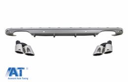 Difuzor Bara Spate cu Ornamente tobe compatibil cu Audi Q5 8R (2009-2016) Bara S Line