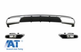 Difuzor Bara Spate cu Ornamente Tobe Crom compatibil cu Mercedes W212 E-Class Facelift (2013-2016) E65 Dessign pentru Bara Spate Standard - CORDMBW212AMGN65WOL