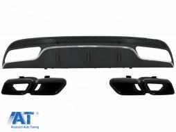Difuzor Bara Spate cu Ornamente tobe Negre compatibil cu MERCEDES C-Class W205 S205 (2014-2020) C63 Design doar pentru Sport Package - CORDMBW205AMGTYBWOL