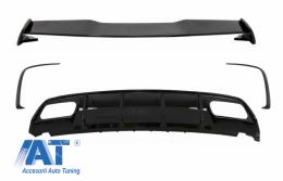 Difuzor Bara Spate cu Prelungiri Extensii Bara Spate si Eleron Portbagaj compatibil cu MERCEDES W176 A-Class (2012-2018) A45 Facelift Design - CORDMBW176FTSRB