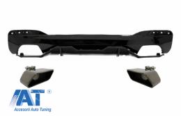 Difuzor Bara Spate cu Tobe Ornamente compatibil cu BMW Seria 5 G30 G31 (2017+) M Performance Design Negru - CORDBMG30MPDOPBTYDB