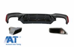 Difuzor Bara Spate cu Tobe Ornamente Crom compatibil cu BMW Seria 5 G30 G31 (2017+) M5 Design - CORDBMG30M5TYS