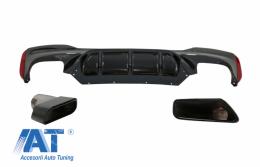 Difuzor Bara Spate cu Tobe Ornamente Negre compatibil cu BMW Seria 5 G30 G31 (2017+) M5 Design - CORDBMG30M5TYB