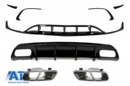 Difuzor Bara Spate Editie Neagra cu Ornamente Evacuare si Prelungiri Bara Fata Compatibil cu MERCEDES A-Class W176 (2015-2018) A45 Facelift Design - CORDMBW176FTYFB