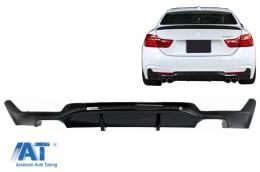 Difuzor Bara Spate Evacuare Dubla compatibil cu BMW F32 F33 F36 4 Series M Performance Design (2013-) Negru Lucios - RDBMF32MPDOB