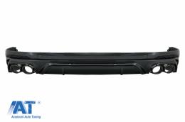 Difuzor Bara Spate Evacuare Dubla compatibil cu Audi Q5 SUV (FY) (2018-2020) Evacuari Negre - RDAUQ5FYSQ5B