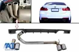 Difuzor Bara Spate Negru cu Ornamente Evacuare Duble compatibil cu BMW Seria 3 F30 F31 2011+ M Performance M3 Design - CORDBMF30MPDOES