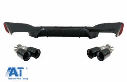 Difuzor Bara Spate Negru Lucios cu Tobe Ornamente Negru compatibil cu BMW Seria 5 G30 G31 (2017-2020) M5 Design - CORDBMG30M5TYBB