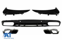 Difuzor Bara Spate si Ornamente bara Spate Flapsuri compatibil cu MERCEDES C-Class C205 A205 Coupe Cabriolet (2014-2019) Facelift C63S Design - CORBSPMBC205AMGRDFS