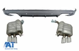 Difuzor Bara Spate si Sistem de evacuare cu Tips-uri compatibil cu Audi Q5 8R (2009-2016) Gri Platinat Crom - CORDAUQ58RNES