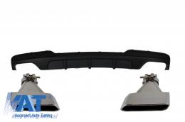Difuzor de aer cu evacuare dubla compatibil cu BMW F10 Seria 5 (2011-2017) M-Performance Design cu Ornamente de evacuare V8 LCI Design - CORDBMF10MPDOTHTYA