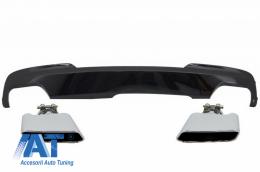 Difuzor de aer cu Evacuare Dubla Negru Lucios si Ornamente compatibil cu BMW F10 F11 Seria 5 (2011-2017) M-Technik 550i Design - CORDBMF10M5B047