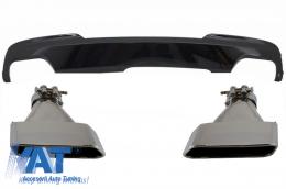 Difuzor de aer cu Evacuare Dubla Negru Lucios si Ornamente compatibil cu BMW F10 F11 Seria 5 (2011-2017) M-Technik 550i Design - CORDBMF10M5BA