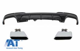 Difuzor de aer cu evacuare dubla si Tobe Ornamente compatibil cu BMW F10 F11 Seria 5 (2011-2017) M-Performance Design Negru Lucios - CORDBMF10MPDOTHPBTY