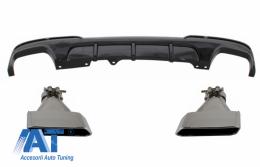 Difuzor de aer cu evacuare dubla si Tobe Ornamente compatibil cu BMW F10 F11 Seria 5 (2011-2017) M-Performance Design Negru Lucios - CORDBMF10MPDOTHPBTYA