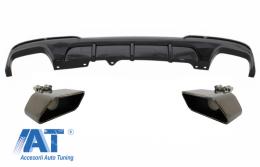 Difuzor de aer cu evacuare dubla si Tobe Ornamente compatibil cu BMW seria 5 F10 F11 Seria 5 (2011-2017) M-Performance Design Negru Lucios - CORDBMF10MPDOTHPBTYB