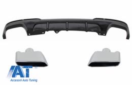 Difuzor de aer cu evacuare dubla si Tobe Ornamente compatibil cu BMW F10 F11 Seria 5 (2011-2017) M-Performance Design Negru Lucios - CORDBMF10MPDOTHPB06