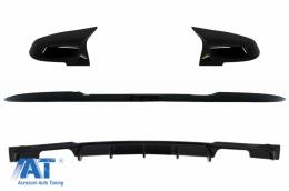 Eleron Portbagaj cu Difuzor Bara Spate Evacuare Dubla si Capace Oglinzi compatibil cu BMW Seria 3 F30 (2011-2019) M4 CSL M Performance Design Negru Lucios - COCBBMF30M4CSPBRDB